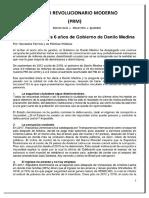 Evaluación Del PRM a Los Seis Años de Gobierno de Danilo Medina