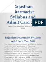 Rajasthan Pharmacist Syllabus and Admit Card 2018