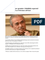 Report Former Premier Abdullah Expected to Be Dropped as Petronas Advisor