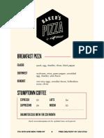 Baker's Pizza & Espresso Menu