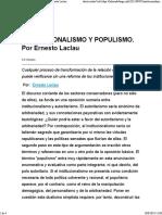Institucionalismo y Populismo Laclau 7 de Septiembre de 2012