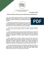 19-08-18 Cambia en Monterrey sedes de eventos tradicionales por manifestaciones