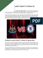 Prediksi Newcastle United vs Chelsea 26 Agustus 2018