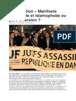 – Manifeste Judéophile Et Islamophobe Ou Pure Diversion