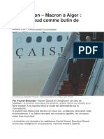 Macron à Alger Kamel Daoud Comme Butin de Guerre