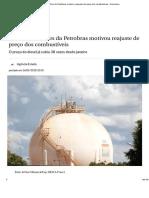 Rombo Nos Cofres Da Petrobras Motivou Reajuste de Preço Dos Combustíveis - Economia