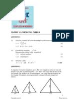 Mathematics Paper 1 Questions