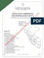 SIMULACRO PRESENCIAL UNMSM 2019 - I (AREA C)-www.profewlliamsdavila.blogspot.com