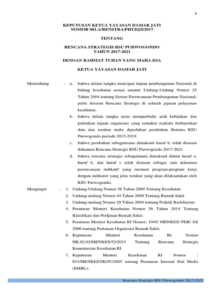 Rencana Strategi Rumah Sakit Umum Purwogondo Versi 2017 Tanpa