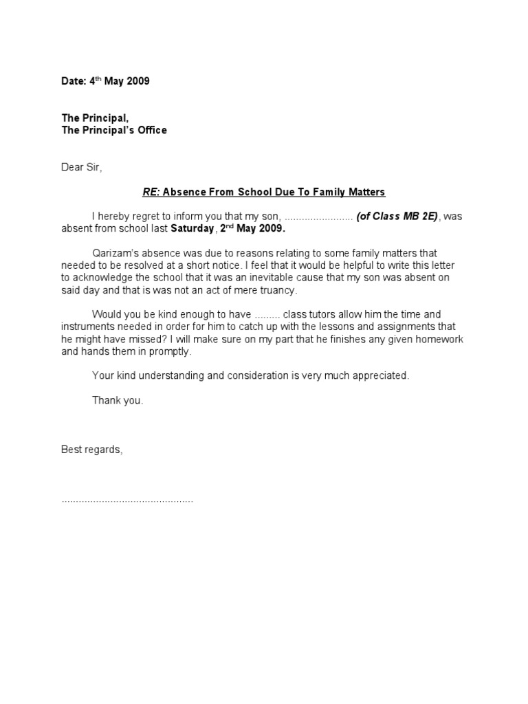 excuse letter for absent student absence letter 12690