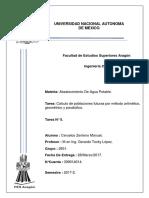 Calculo de poblaciones futuras por método aritmético, geométrico y parabólico.
