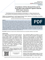 Studies on Bacterial Synthesis of Silver Nanoparticles and its Synergistic Antibacterial effect with antibiotics against Selected MDR Enteric Bacteria