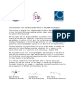 FDA, PCS and Prospect Joint Statement on expedition of legal challenge 21.08.18