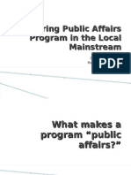 Exploring Public Affairs Program in the Local Mainstream (1st Report)