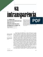 A nova intransparência (CEBRAP - Carlos Novaes) A crise de bem estar social e o esgotamento das energias utopicas.pdf