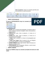 Pestaña Inicio, Insertar. Revisar, Vista. Formulas. Datos Con Imagen de Excel y Todas Sus Pestañas RESUMEN