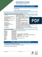 Hoja de Datos de Seguridd Del Bicarbonato de Sodio