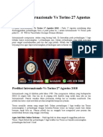 Prediksi Internazionale vs Torino 27 Agustus 2018