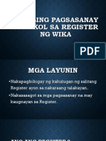Maikling Pagsasanay Tungkol Sa Register Ng Wika- Komunikasyon