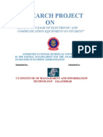 Project Report on Effect of Usage of Electronic and Communication Equipment on Student