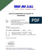Carta de Compromiso de Alquiler de Maquinaria-Inversan-30.07.2018 (Angel Carhuapoma Huaman)