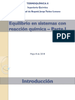 22. Equilibrio con reacción química - Parte I - 2018-I