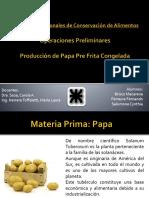 Operaciones Preliminares para  la elaboracion de papa pre-frita congelada
