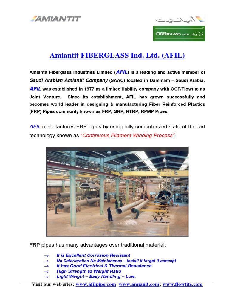 AFIL Introduction December-2003 | Fiberglass | Pipe (Fluid Conveyance)