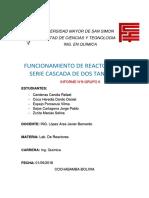 FUNCIONAMIENTO DE REACTORES EN SERIE CASCADA DE DOS TANQUES