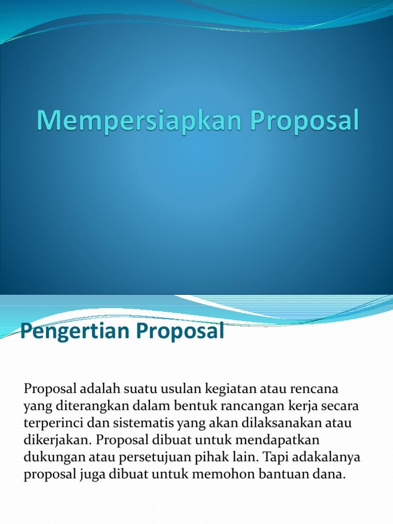Mempersiapkan Proposal