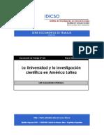 idicso-la Universidad y la Investigación Científica en América Latina