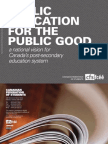 Public Education for the Public Good - A National Vision for Canada's Post-secondary Education System