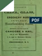 1861. Cahoone &Hail. Catalogue of China, Glass, And Crockery Ware, Cutlery, Housefurnishing Goods