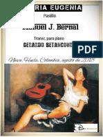 GLORIA EUGENIA. Pasillo. Manuel J. Bernal. Transc. piano Gerardo Betancourt.