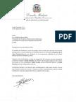 Carta de felicitación del presidente Danilo Medina a Cristóbal Marte Hoffiz por triunfo de la Selección de Voleibol Sub-23 en la Copa Panamericana de esa categoría en Lima, Perú