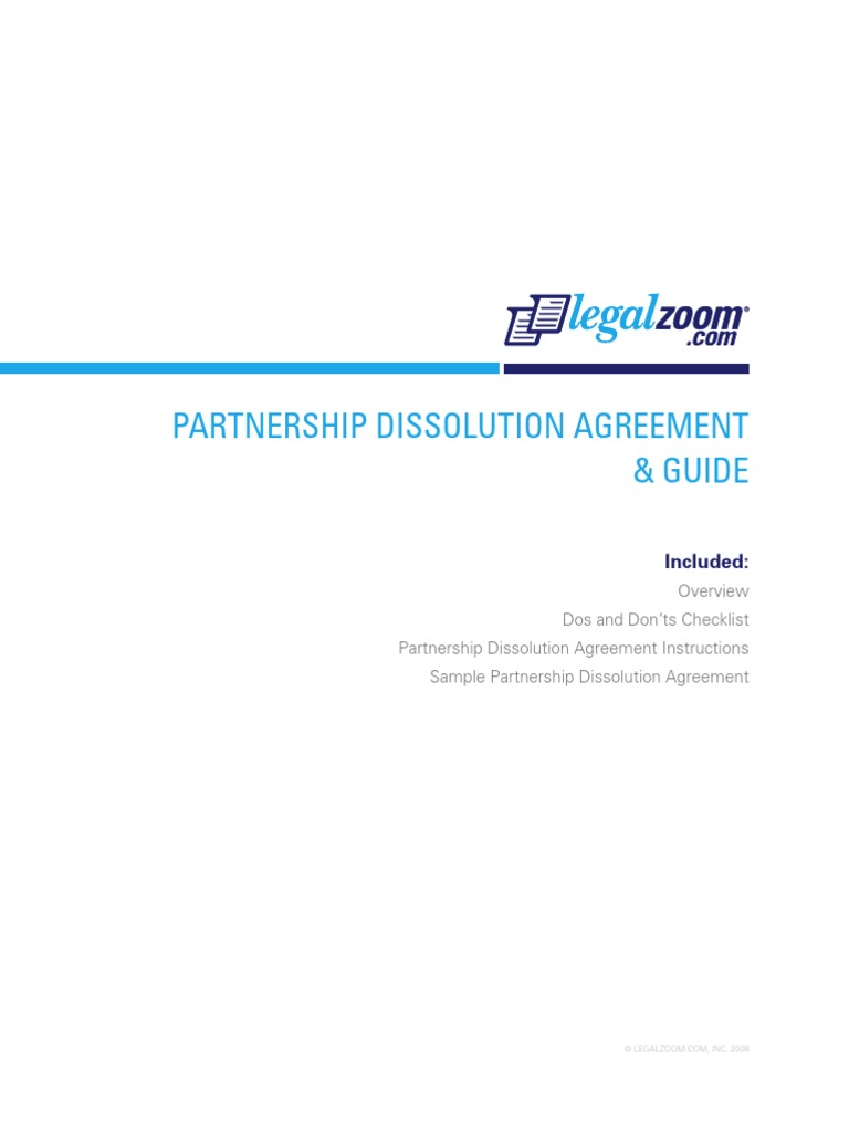 Partnership Dissolution Agreement Guide A Good Owner Manual Example