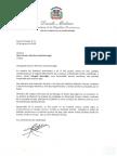 Carta de condolencias del presidente Danilo Medina a Mari Carmen Morales viuda Bournigal por fallecimiento de su esposo, Douglas Bournigal