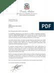 Carta de condolencias del presidente Danilo Medina a Maybe Sánchez viuda Calventi por fallecimiento de su esposo, Rafael Calventi Gaviño