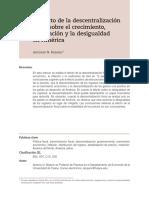 Bojanic (2018) El Efecto de La Descentralizacion Fiscal Sobre El Crecimiento, La Inflación y La Desigualdad en América Latina