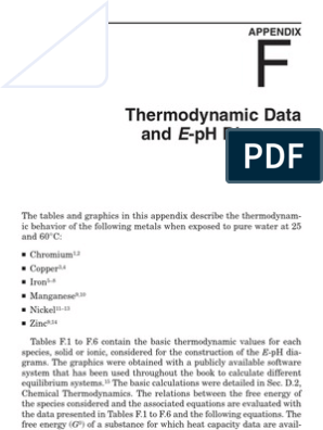 Thermodynamic Data and E pH Diagrams | Temperature