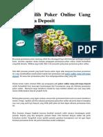 Alasan Pilih Poker Online Uang Asli Tanpa Deposit
