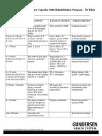 Sports Medicine Protocol KLEIN Bankart