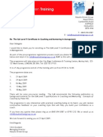 ILM Level 5 CC&MM - Enrolment Letter - April 2009 Programme