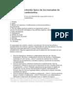 RESUMEN - Contenido Típico de Los Manuales de Políticas y Procedimientos