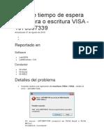 Error de Tiempo de Espera de Lectura o Escritura VISA
