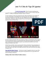 Prediksi Levante vs Celta de Vigo 28 Agustus 2018