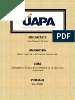 Antecedentes Legales en La Historia de La Educación Dominicana