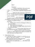 Population Ecology Worksheet