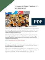 Tips Sehat Konsumsi Makanan Bersantan Tanpa Khawatir Kolesterol