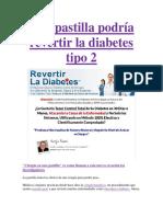 Una Pastilla Podría Revertir La Diabetes Tipo 2